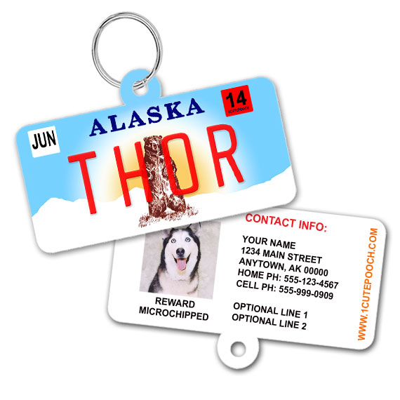 Alaska License Plate Pet ID Tag