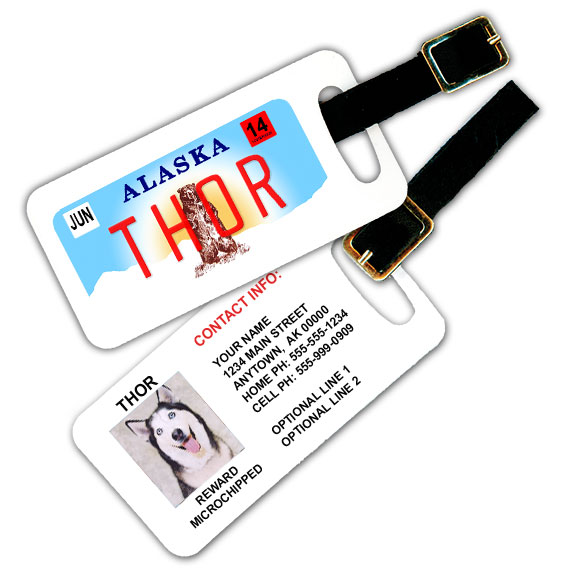 Alaska License Plate Pet Luggage Tag