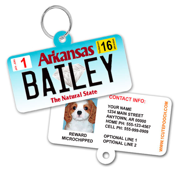 Arkansas License Plate Pet ID Tag