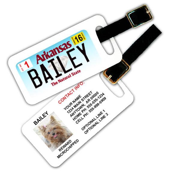 Arkansas License Plate Pet Luggage Tag