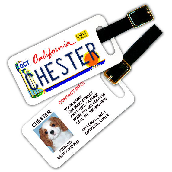 California License Plate Pet Luggage Tag