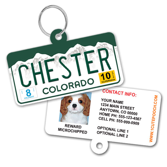 Colorado License Plate Pet ID Tag