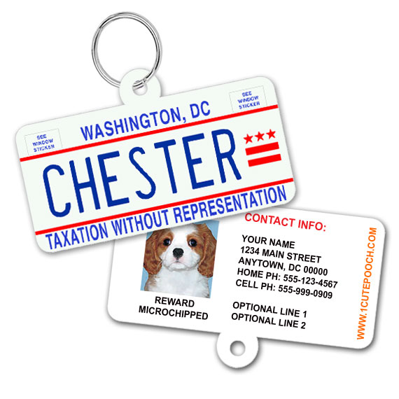 District Of Columbia License Plate Pet ID Tag
