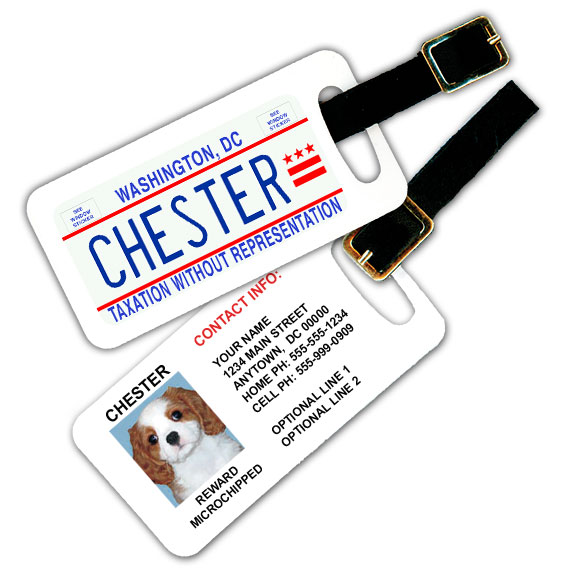 District Of Columbia License Plate Pet Luggage Tag