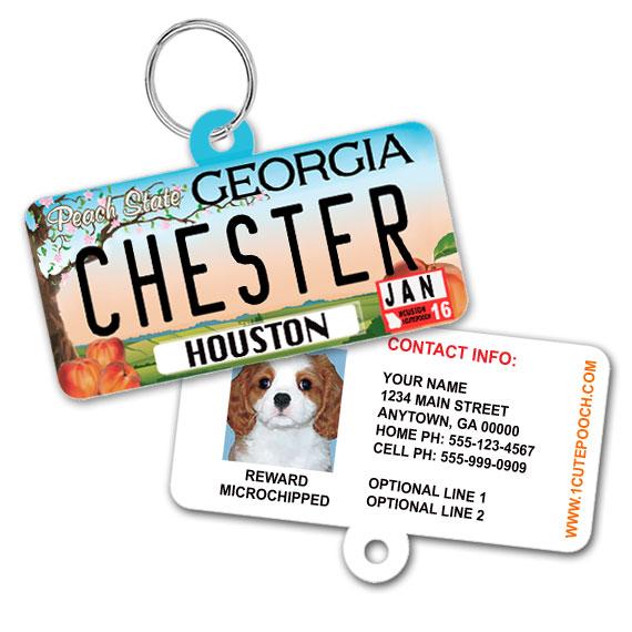 Georgia License Plate Pet ID Tag