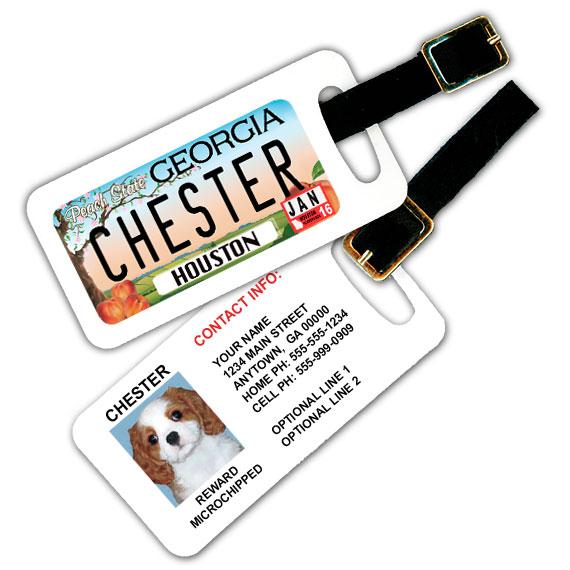 Georgia License Plate Pet Luggage Tag