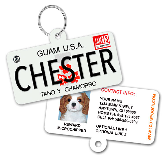 Guam License Plate Pet ID Tag