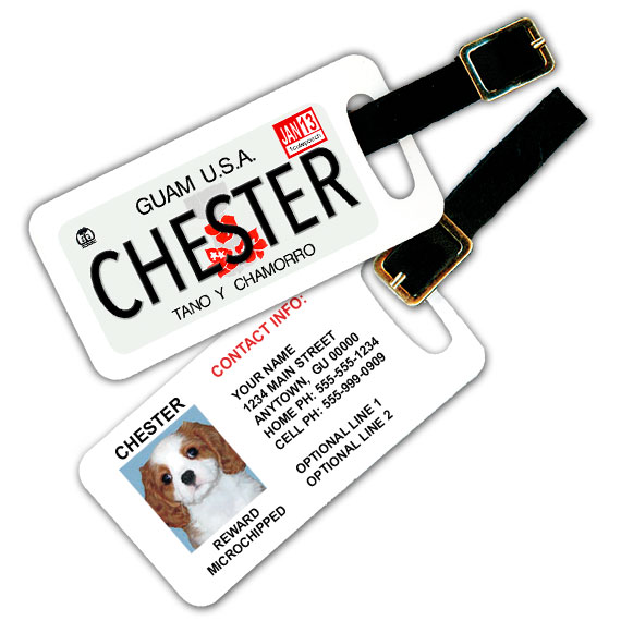 Guam License Plate Pet Luggage Tag