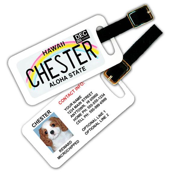 Hawaii License Plate Pet Luggage Tag