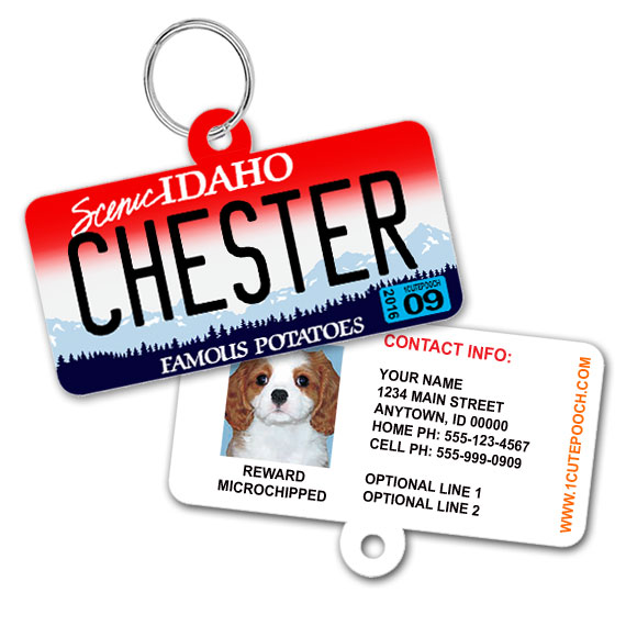 Idaho License Plate Pet ID Tag