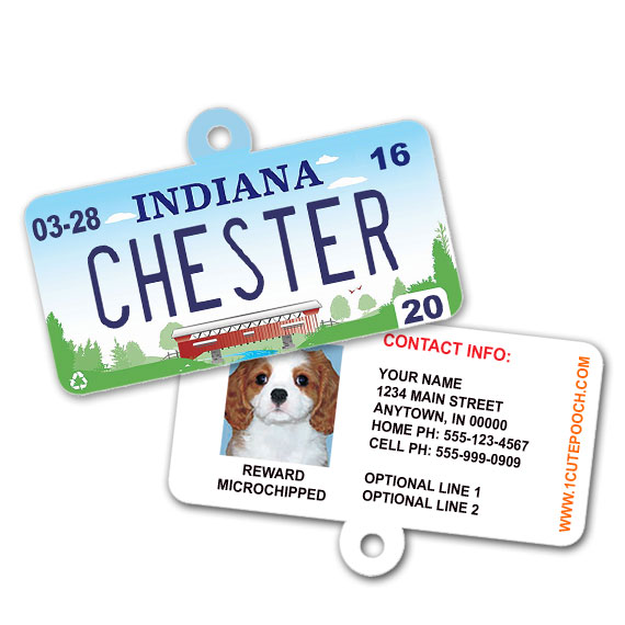 Indiana License Plate Pet ID Tag