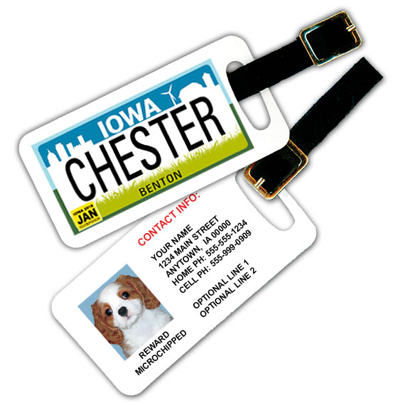 Iowa License Plate Pet Luggage Tag