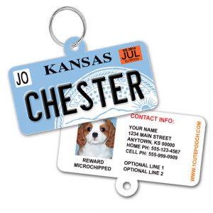 Kansas License Plate Pet ID Tag