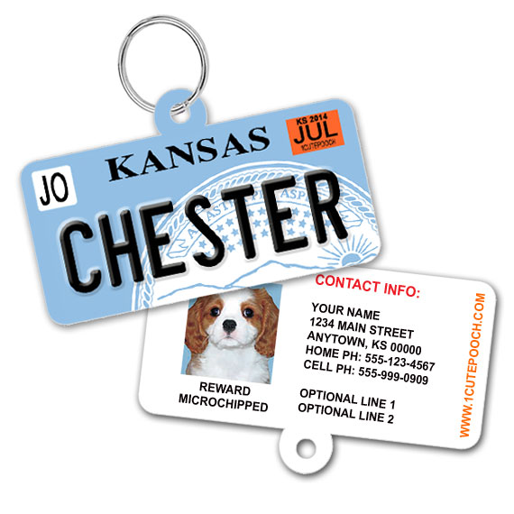 Kansas License Plate Pet ID Tag