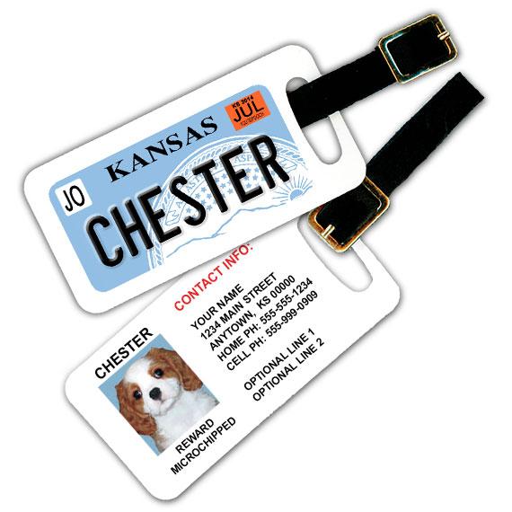 Kansas License Plate Pet Luggage Tag