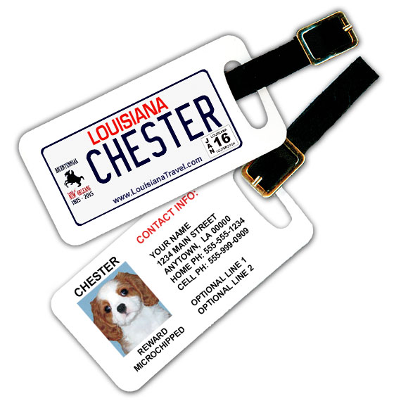 Louisiana License Plate Pet Luggage Tag