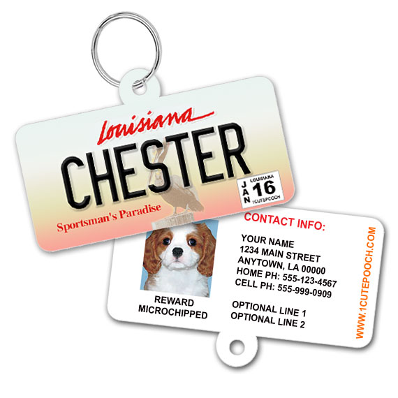 Louisiana License Plate Pet ID Tag