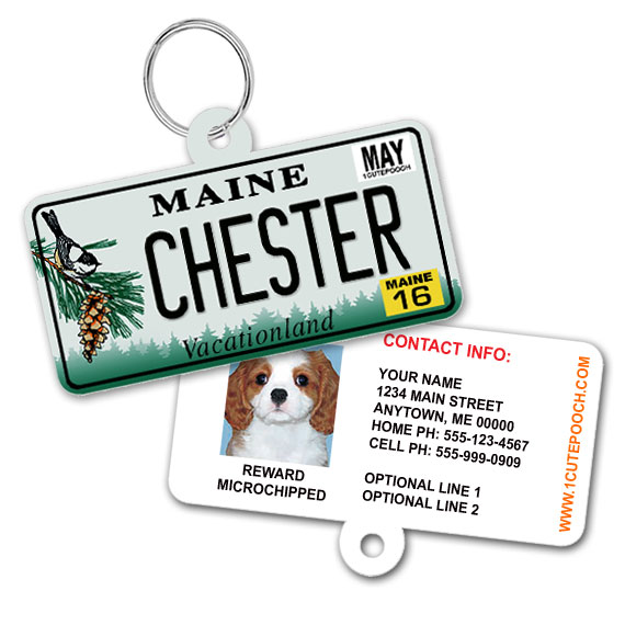 Maine License Plate Pet ID Tag