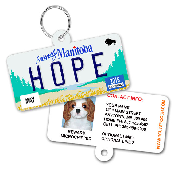 Manitoba Licence Plate Pet ID Tag