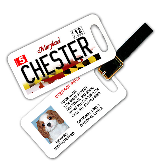 Maryland License Plate Pet Luggage Tag