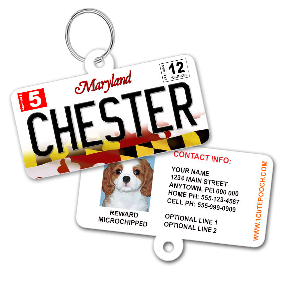 Maryland License Plate Pet ID Tag
