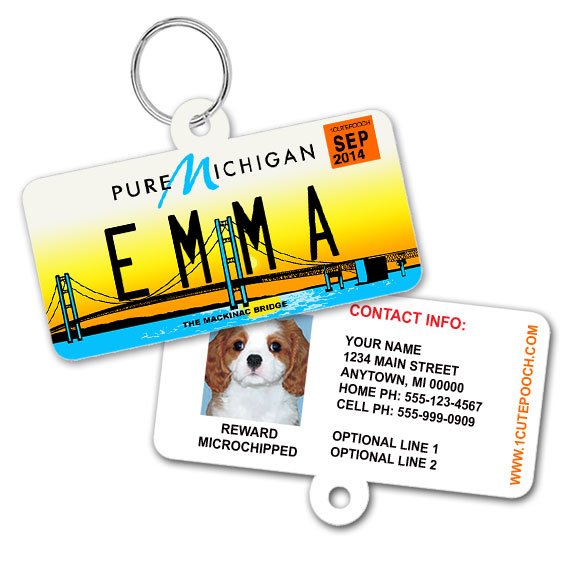 Michigan License Plate Pet ID Tag
