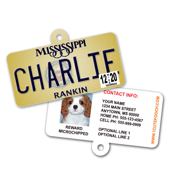 Mississippi License Plate Pet ID Tag