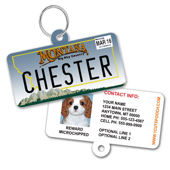 Montana License Plate Pet ID Tag