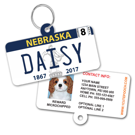 Nebraska License Plate Pet ID Tag