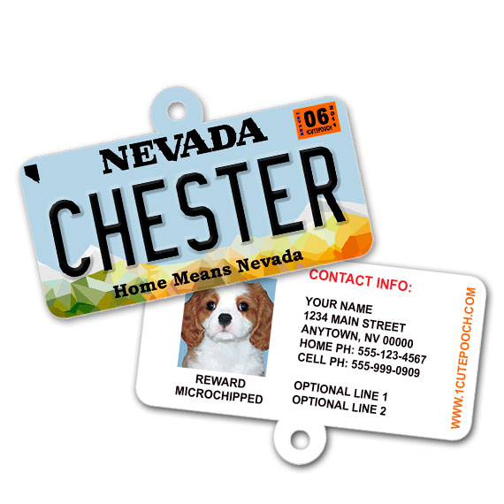Nevada License Plate Pet ID Tag