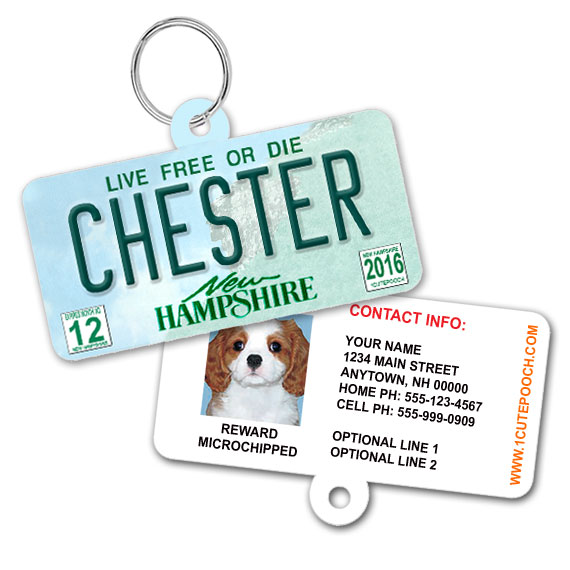 New Hampshire License Plate Pet ID Tag