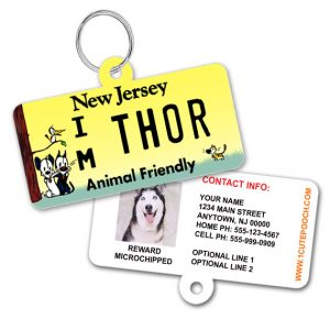 New Jersey License Plate Pet ID Tag