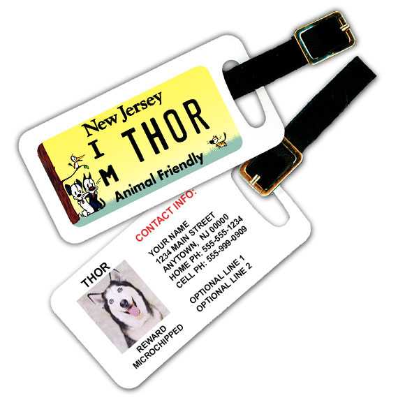 New Jersey License Plate Pet Luggage Tag