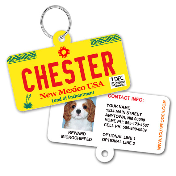 New Mexico License Plate Pet ID Tag