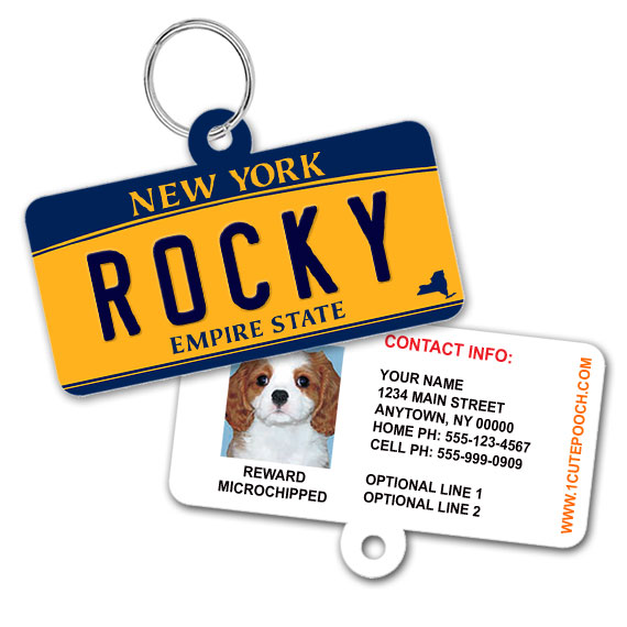 New York License Plate Pet ID Tag