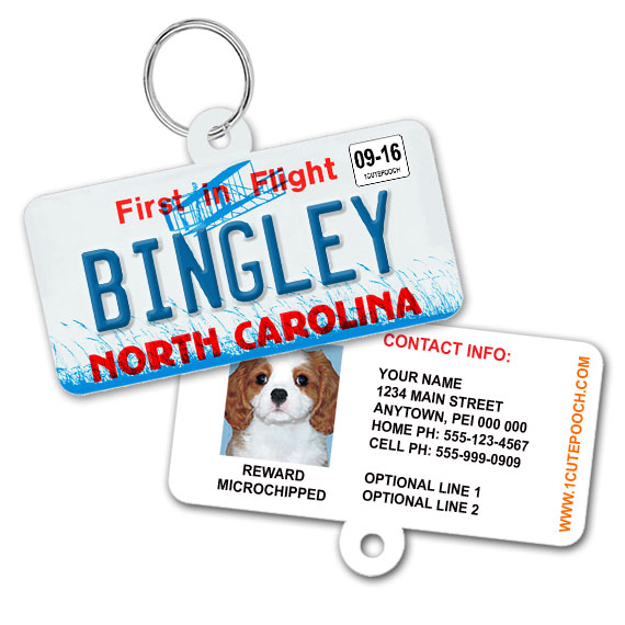 North Carolina License Plate Pet ID Tag