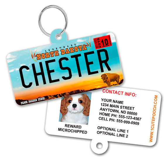North Dakota License Plate Pet ID Tag