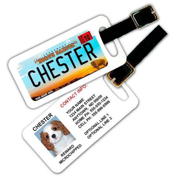 North Dakota License Plate Pet Luggage Tag