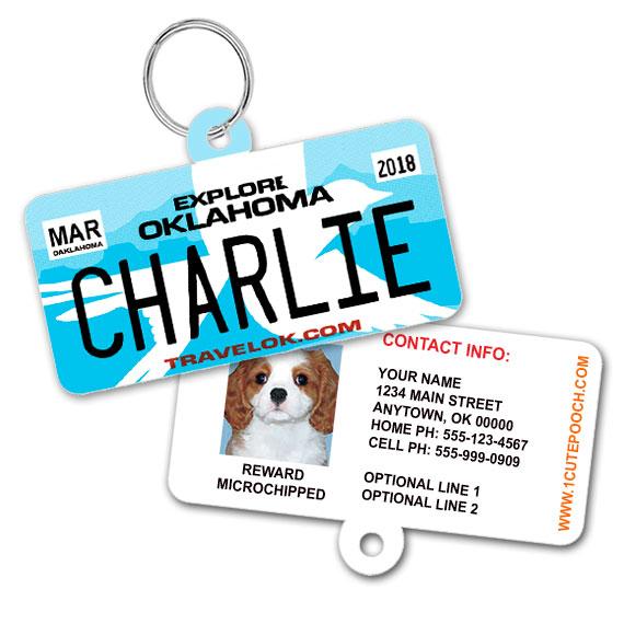 Oklahoma License Plate Pet ID Tag