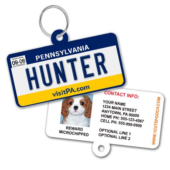 Pennsylvania License Plate Pet ID Tag