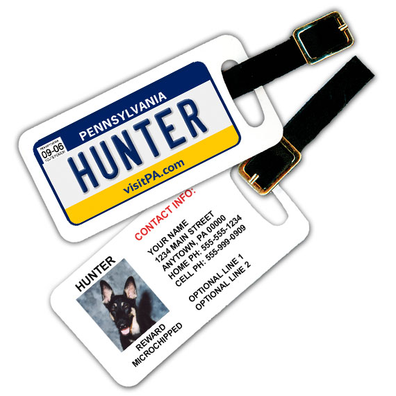 Pennsylvania License Plate Pet Luggage Tag