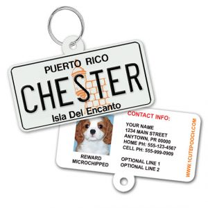 Puerto Rico License Plate Pet ID Tag