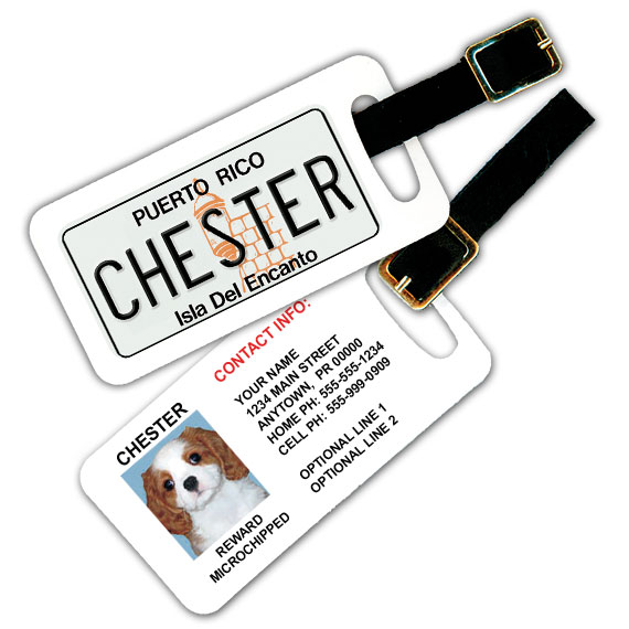 Puerto Rico License Plate Pet Luggage Tag