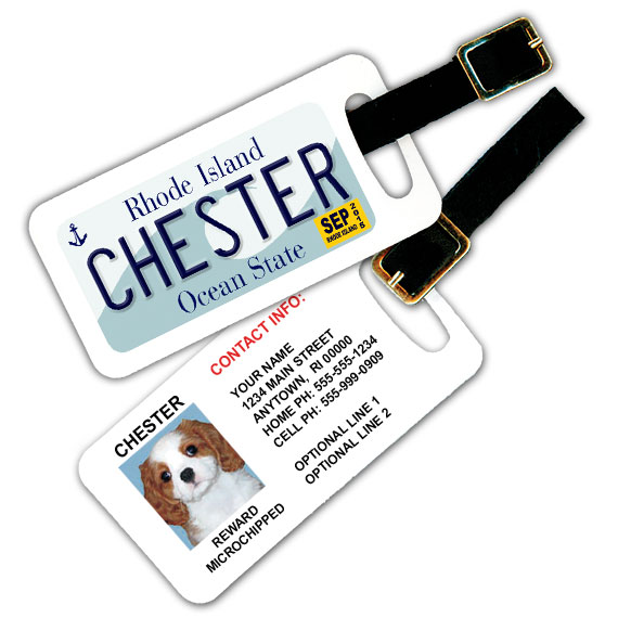 Rhode Island License Plate Pet Luggage Tag