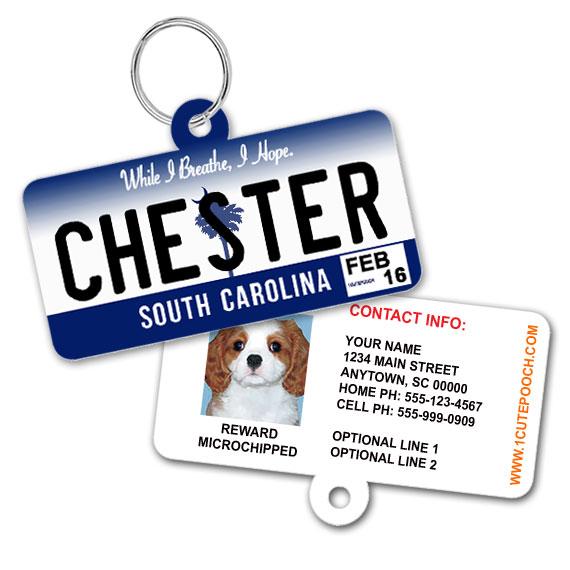 South Carolina License Plate Pet ID Tag