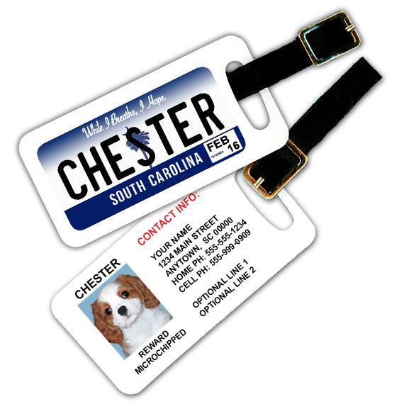 South Carolina License Plate Pet Luggage Tag