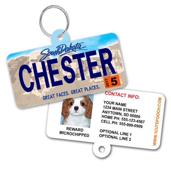 South Dakota License Plate Pet ID Tag