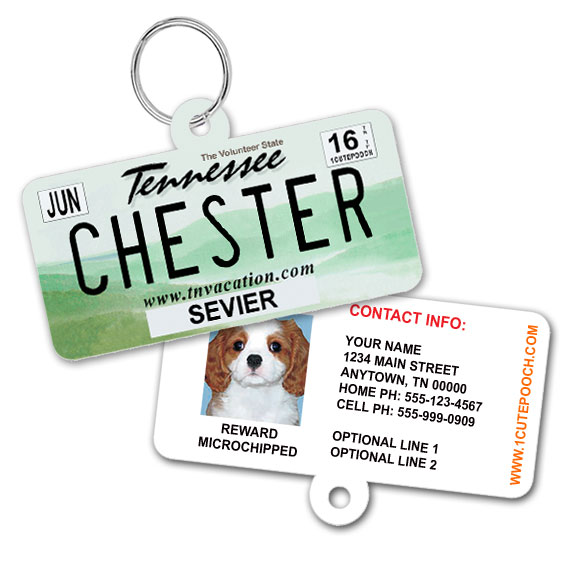 Tennessee License Plate Pet ID Tag