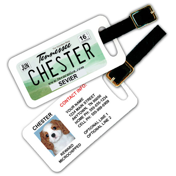 Tennessee License Plate Pet Luggage Tag