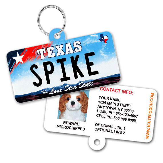 Texas License Plate Pet ID Tag